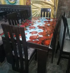 Brown Wooden 6 Seater Dining Table Set, For Home