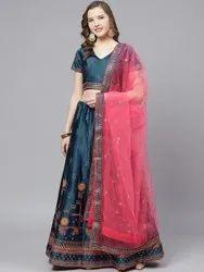 Semi Stitched Laxmi-2076-Blue-LH Designer Satin Party Wear Lehenga Choli