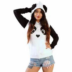 Besavage Cotton Women Panda Printed Hoodie