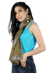 polyester chiffon crinkeld golden scarves