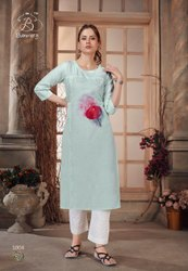 Straight 3/4th Sleeve Cotton Hand Embroidery Kurti, Wash Care: Machine wash