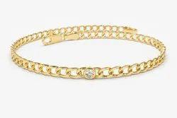 Pramukhimpex VVS1 14k Gold Cuban Link Bracelet w/ Bezel Setting Diamond, 0.62 Ctw
