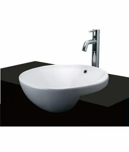 White Toto Semi Recessed Ceramic Wash Basin For Bathroom Rs 12600 Piece Id 23048837688