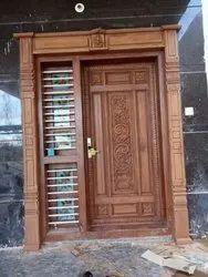 Brown Teak Wood Antique Wooden Door, 20 Mm