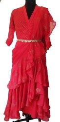 Plain Red Ladies Party Wear Drape Dress