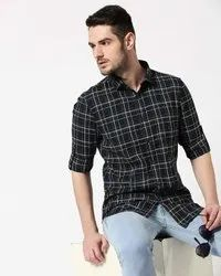 Cotton Checked Casual Men Shirts, Size: 38