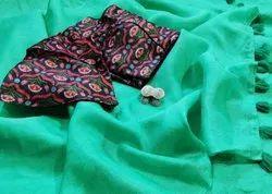 Plain Party Wear Designer Linen Saree, With blouse piece, 5.5 m (separate blouse piece)