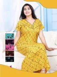 Full Length Half Ladies Yellow Cotton Night Gown, Medium