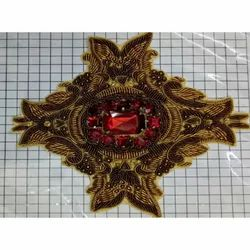 Golden Polyester Embroidery Button, For Garments, Packaging Type: Packet