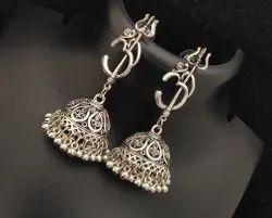 Silver Straight Oxidised Devotional Om Trishul Earrings, Size: Free Size