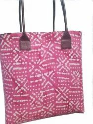 HOOPLA pink Fabric And Leather Handbag, For Daily Use, Gender: Women