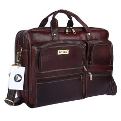 BEHIDE Brown Leather Briefcase