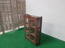 Vintage Wooden Cabinet With Glass Panels