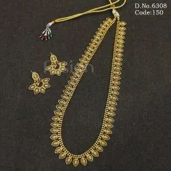 Traditional Gold Plated Long Necklace Set