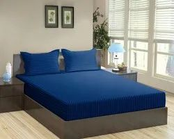 Navy Blue Satin Stripe Dyed Double Bed Sheet