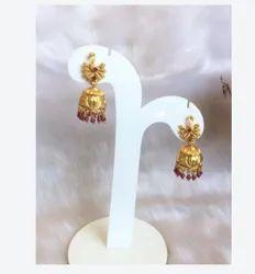 Rajwadi Jewellery, Peacock Gold Earrings, Golden Jhumka, Delicate Jhumka