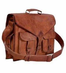 Fakhri Bag Brown Leather Office Handbag, For College, Gender: Men
