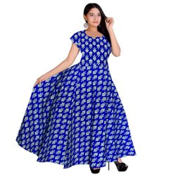 Blue Printed Ladies Half Sleeves Cotton Dress, Size: Free Size