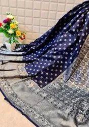 Pure Lichi Soft Silk Saree With Silver Zari Weaving Work