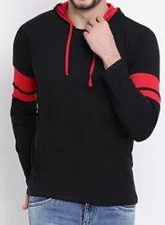 Men Black Striped Hooded T-shirt, Size: S To Xxl