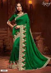 Green Color Designer Border Saree