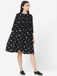 Cotton Printed SHY-1002KR Designer Black Color Flared Dress