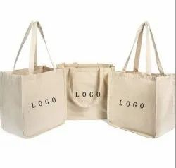 Printed Loop Handle Canvas Tote Shopping Bag, Capacity: 10 Kg