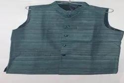 Party Plain Men Tussar Gitcha Silk Waistcoat