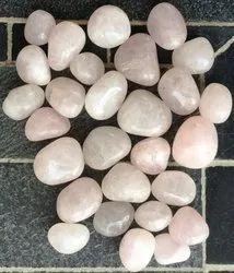 Pink Pebble Stone Rose Quartz Semi Precious Pebbles, For Decoration, Interior, Dimensions: 15-40mm