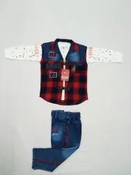 1-9 Years Cotton And Denim 843 Kids Jacket Baba Suit, Size: 16-30