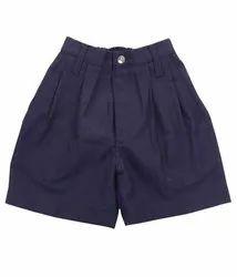 Blue Plain Cotton School Half Pant, Size: 22