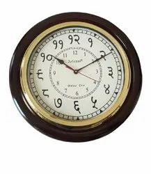 Arishai white,brown B- 201 Wooden Brass Wall Clock, For Office, Size: 16 Inch