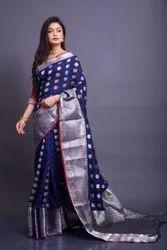 Ladies Kanjivaram Silk Saree With Beautiful Silver & Gold Zari