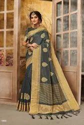 Designer Cotton Chit Pallu Saree