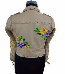 Full Sleeve sand Embroidery Moto Jacket