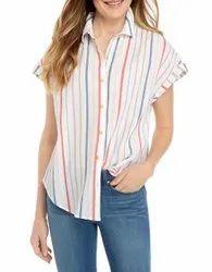 Half Sleeve Ladies Stylish Cotton Shirts, Size: S-XXL