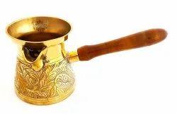1 Golden Brass Turkish Kettle Mug With Wooden Handle - 275ml, Packaging Type: Box, Shape: Round