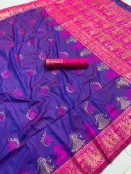 ANK Enterprise Wedding Wear Pure Hand Weaving Katan Silk Sarees, 6.3 m (with blouse piece)