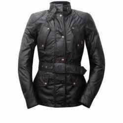 Black Plain Ladies Full Sleeve Leather Jacket