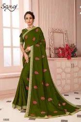 Green Color Designer Vichitra Silk Saree