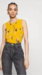 Ladies Yellow Sleeveless Top, Size: S-XXL