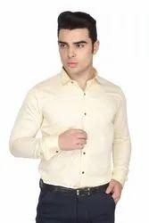 Full Sleeve Slim Fit Men Cream Color Formal Cotton Satin Shirts