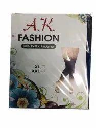 AK Fashions Stretchable Ladies Cotton Leggings, Size: XXL