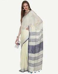 queen silk Plain Ladies Border Print Party Wear Cotton Saree, 6.3 m (with blouse piece)
