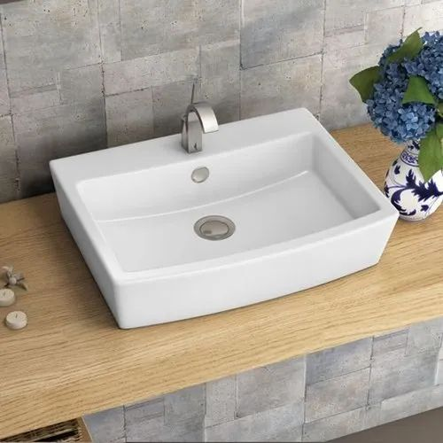 Ceramic Plain White Table Top Wash Basin For Bathroom 500 X 400 X 140 Mm Rs 1034 Piece Id 20437174430