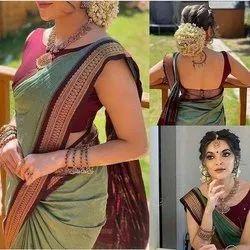 Party Wear Border Pallavi Stylish Saree, With Blouse Piece, 5.5 m (Separate Blouse Piece)