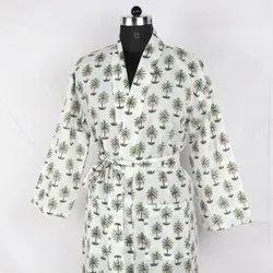 Hand Block Printed Cotton Long Kimono