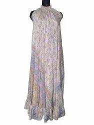 Ladies Cotton Printed Maxi Dress, Handwash