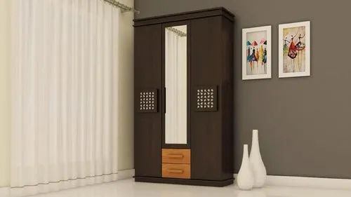 White Oak Brown Rectangle Wooden Wardrobe, For Home