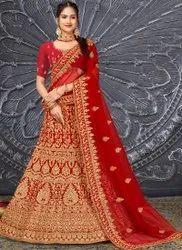 Embroidered And Stone Velvet Designer Wedding Lehenga, Size: Free Size